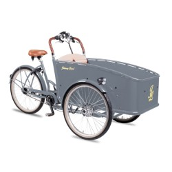 Johnny Loco E-Bike Cargo Earl grey child transport trike